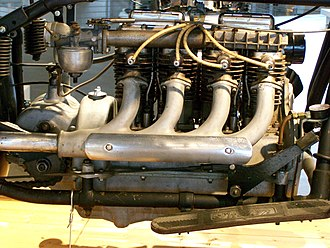 Straight engine - Straight-4 engine installed in line with the frame of an Indian Four motorcycle