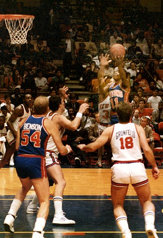 Isiah Thomas - Thomas competing for the Detroit Pistons against the New York Knicks at Madison Square Garden in New York in 1985
