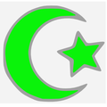 Islamic star and crescent electric green.PNG