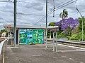 Island platform at Sherwood railway station, Queensland, 2020.jpg