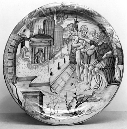 Alexander the Great ordering Persepolis to be set on fire; Italian plate, 1534 (although it may be a depiction of the burning of Rome by Nero). Italian - Plate with Overhanging Edge - Walters 481364 - Obverse.jpg