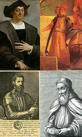 European colonization of the Americas - Italian explorers which played a key role in the European colonization of the Americas (clockwise from top): Christopher Columbus, John Cabot, Amerigo Vespucci and Giovanni da Verrazzano