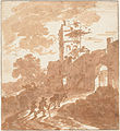 Italianate landscape with road to a town gate, by Adriaen van der Kabel.jpg