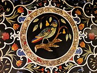 Italy Table with a parrot on a pear tree (detail) 03.jpg