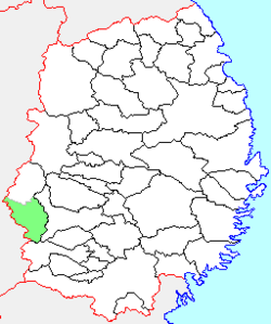 Location of Yuda in Iwate Prefecture