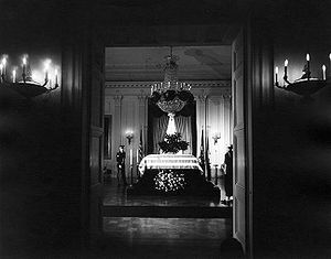 State funeral of John F. Kennedy - President John F. Kennedy lies in repose in the White House East Room.