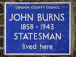 Photo of John Burns blue plaque