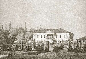 Karol Podczaszyński - Drawing of the Jašiūnai Manor in the 19th century