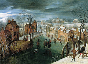 Jacob Grimmer - A winter landscape with a village, skaters on a frozen river, and hunters in the foreground