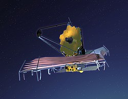 Konceptbild av James Webb-teleskopet (James Webb Space Telescope).
