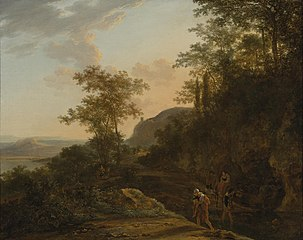 Italian Landscape with Mountain Path and Ford