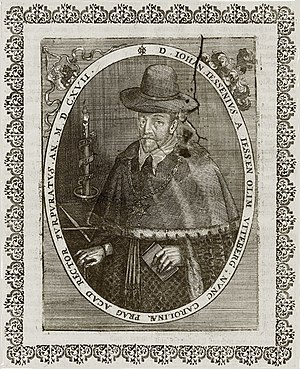 Jan Jesenius - D(ominus) Iohan(nes) Iessenius a Iessen olim Vitenberg, nunc Carolinae Prag(ae) Acad(emiae) rector purpuratus. A contemporary copperplate by Matthäus Merian, 1617