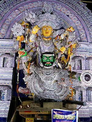 """Durga Puja in Odisha - Janhikhai Gosani, the second largest Durga idol in Puri. Her name literally means  """"she who loves ridge-gourds."""""""