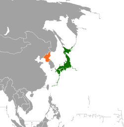 Map indicating locations of Japan and North Korea