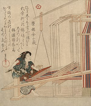 Heddle - An early nineteenth century Japanese loom with several heddles, which the weaver controls with her foot.