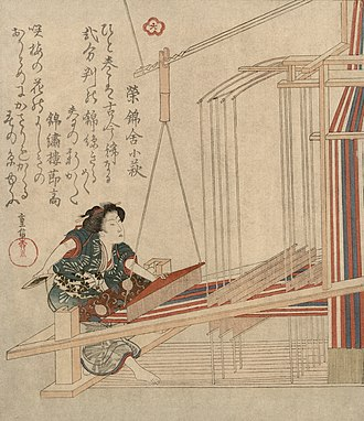Beater (weaving) - A Japanese weaver using a beater, mounted from a notched pole and suspended overhead.  Woodcut print by Yanagawa Shigenobu, 1825-1832.