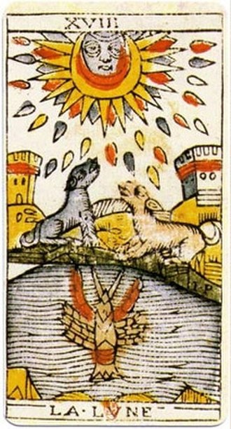 "The Moon (Tarot card) - An original card from the tarot deck of Jean Dodal of Lyon, a classic ""Tarot of Marseilles"" deck. The deck dates from 1701–1715."