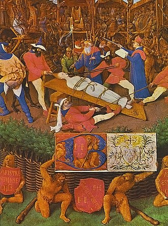 Theatre director - Jean Fouquet: The Martyrdom of St. Appollonia (1460), depicting the staging of a mystery play, led by a theatre director