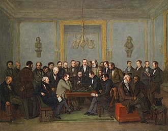World Chess Championship - A depiction of the chess match between Howard Staunton and Pierre Saint-Amant, on 16 December 1843. This match was regarded as an unofficial world championship.