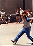 Jeff Greenfield's pitching form, July 1984 (4958497051).jpg