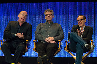 "Agents of S.H.I.E.L.D. (season 1) - Executive producers Loeb (L) and Bell (M) along with Gregg (R) at PaleyFest 2014, where the episode ""End of the Beginning"" was screened."