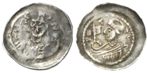 John I, Archbishop of Trier - Silver denier of John I, Archbishop of Trier. Obverse shows the mitered archbishop with a crosier and a book, with the motto IOHANN.; reverse shows the profile of Saint Peter, the patron saint of the cathedral, with the motto PETRVS.