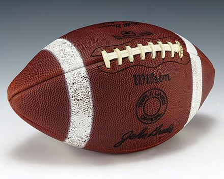 A football signed by Brodie, gifted to President Gerald Ford. John Brodie signature football (1991.83.1).jpg