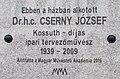 Jozsef Cserny plaque, 10 Maros Street, 2017 Krisztinaváros.jpg
