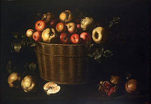 Juan de Zurbarán - Basket with Apples, Quinces and Pomegranates - Google Art Project.jpg