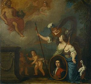 Juriaen Pool - Self-portrait in allegorical scene for the orphanage. He is shown wearing the traditional orphan clothing with a red jacket and a blue sleeve.
