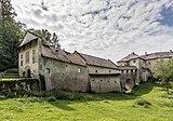 Köttmannsdorf Hollenburg Burganlage Torturm Gang über Halsgraben 13072018 3900.jpg