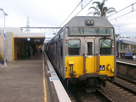 Broadmeadow station on the Newcastle Line K64 Set at Broadmeadow railway station.JPG