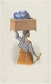 KITLV - 36A220 - Borret, Arnoldus - Woman with a chest and a bundle on her head - Water colour - Circa 1880.tif