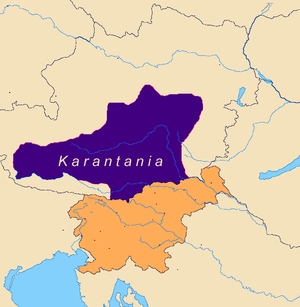 Hypothetical borders of Karantania around 828
