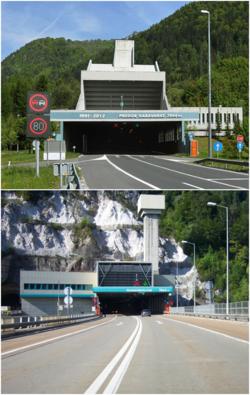 Karawankentunnel Südportal+Nordportal.png