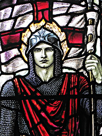 Karl Parsons - Detail of a stained glass window (1919), Church of St Laurence, East Harptree