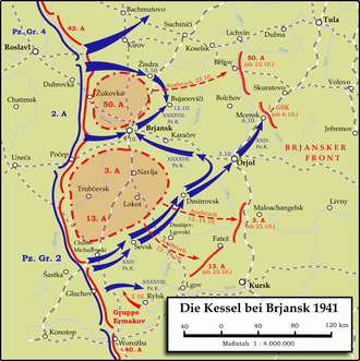 Battle of Bryansk (1941) - Encirclement of Soviet armies near Bryansk