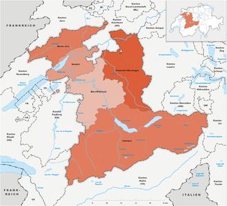 Karte Kanton Bern Verwaltungsregionen 2010