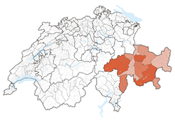 Map of Switzerland, location of Graubünden highlighted