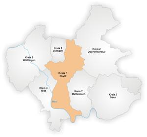 Stadt (Winterthur) - Image: Karte Winterthur Stadtkreis 1