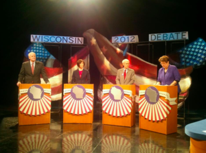Kathleen Vinehout - Four candidates (including Vinehout) at recall primary debate for Governor of Wisconsin, 2012