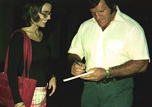 Bruno Sammartino - Sammartino signing an autograph in August 1974 for bodybuilder Kathy Segal, who later won the Ms. International