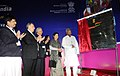 Kavuru Sambasiva Rao unveiling the plaque to inaugurate the 4th Edition of Tex Trends India 2014, in New Delhi on January 20, 2014. The Secretary, Ministry of Textiles, Ms. Zohra Chatterji is also seen.jpg