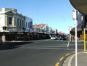 South Dunedin - King Edward Street, looking south from Cargill's Corner.