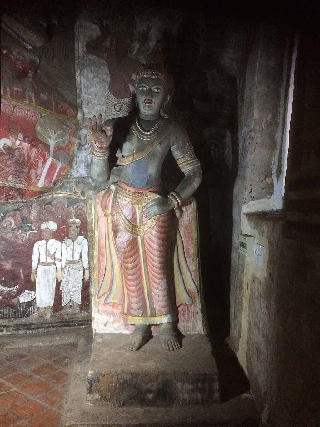 Statue of King Nissanka Malla of Sri Lanka located in Dambulla cave temple, Sri Lanka