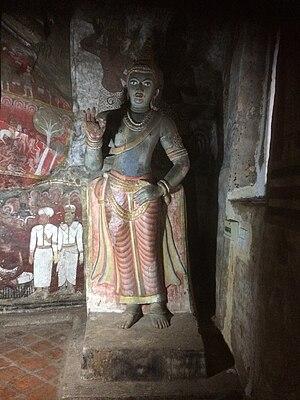 Nissanka Malla of Polonnaruwa - Statue of Nissanka Malla in the Dambulla cave temple