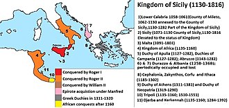 Kingdom of Sicily - The Kingdom of Sicily with its territorial evolution