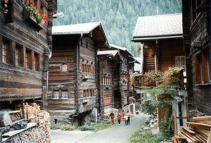 Wooden houses in Kippel, the main village of L...