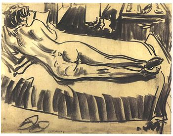 English: Reclining female nude on a couch Deut...