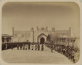 Kokand Khanate. Gate of the Kokand Palace in the City of Kokand. Soldiers of the Kokand Khan's Army Standing in the Interior Courtyard of the Palace WDL10731.png